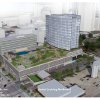 Photo -  Clayco, which is assisting in the development of the new headquarters for OGE Energy Corp., is seeking to redevelop the south half of the block, as shown in the bottom half of this drawing. A modeling depiction of the headquarters itself is shown in the top half of this drawing. Drawing provided  <strong>  </strong>