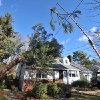 Sections of a tree are lifted by crane from the roof of a home by Green Mansion Tree Co. on Thursday, Jan., 31, 2013 in Sea Cliff, N.Y. The tree had fallen early this morning as a result of high winds. (AP Photo/Kathy Kmonicek)