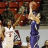Kansas State\'s Leticia Romero (10) shoots against Oklahoma\'s Aaryn Ellenberg (3) in the second half during an NCAA women\'s basketball game between the Oklahoma Sooners and the Kansas State Wildcats at Lloyd Noble Center in Norman, Okla., Saturday, Jan. 11, 2014. OU won 61-50. Photo by Nate Billings, The Oklahoman