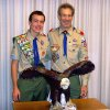 Photo - In this June 17, 2010 photo provided by the family, Lucien Tessier and Scoutmaster Craig Iscoe pose for a photo at Lucien's Eagle Scout ceremony in Potomac, Md.