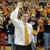 CELEBRATION: Travis Ford celebrates the 69-67 overtime win against Baylor during the college basketball game between the Oklahoma State University Cowboys (OSU) and the Baylor University Bears (BU) at Gallagher-Iba Arena on Wednesday, Feb. 6, 2013, in Stillwater, Okla. Photo by Chris Landsberger, The Oklahoman