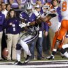 Oklahoma State\'s Brodrick Brown (19) breaks up a pass for Kansas State\'s Chris Harper (3) during the college football game between the Oklahoma State University Cowboys (OSU) and the Kansas State University Wildcats (KSU) at Bill Snyder Family Football Stadium on Saturday, Nov. 1, 2012, in Manhattan, Kan. Photo by Chris Landsberger, The Oklahoman