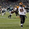 Cincinnati Bengals\' Wallace Gilberry struts into the end zone for a touchdown after recovering a fumble by the Philadelphia Eagles in the second half of an NFL football game on Thursday, Dec. 13, 2012, in Philadelphia. (AP Photo/Mel Evans)