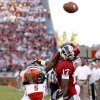 Oklahoma\'s Trey Metoyer (17) misses the catch as he fights with Florida A&M\'s Patrick Aiken (5) during the college football game between the University of Oklahoma Sooners (OU) and Florida A&M Rattlers at Gaylord Family—Oklahoma Memorial Stadium in Norman, Okla., Saturday, Sept. 8, 2012. Photo by Bryan Terry, The Oklahoman