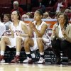 Only three substitutes are available in the second half as the University of Oklahoma Sooners (OU) play the North Texas Mean Green in NCAA, women\'s college basketball at The Lloyd Noble Center on Thursday, Dec. 6, 2012 in Norman, Okla. Oklahoma\'s Jasmine Hartman (45), Nicole Kornet (1) and Portia Durrett (31) are the only healthy Sooners not on the floor. Photo by Steve Sisney, The Oklahoman