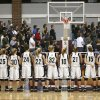 Players from Perkins-Tryon Lady Demons line the floor for the national anthem before start of Class 4A Girl\'s basketball playoffs Thursday, March 6, 2008, in the Sawyer Center at Southern Nazarene University . They played Star Spencer Lady Bobcats. BY JIM BECKEL, THE OKLAHOMAN