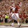 Oklahoma\'s Blake Bell (10) celebrates with Brannon Green (82) after a touchdown during a college football game between the University of Oklahoma Sooners (OU) and the Kansas State University Wildcats (KSU) at Gaylord Family-Oklahoma Memorial Stadium, Saturday, September 22, 2012. Oklahoma lost 24-19. Photo by Bryan Terry, The Oklahoman