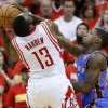 Oklahoma City\'s DeAndre Liggins (25) defends Houston\'s James Harden (13) during Game 6 in the first round of the NBA playoffs between the Oklahoma City Thunder and the Houston Rockets at the Toyota Center in Houston, Texas, Friday, May 3, 2013. Photo by Bryan Terry, The Oklahoman