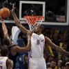 Oklahoma City\'s Serge Ibaka (9) blocks Denver\'s Arron Afflalo\'s shot during the NBA basketball game between the Oklahoma City Thunder and the Denver Nuggets at the Chesapeake Energy Arena, Sunday, Feb. 19, 2012. Photo by Sarah Phipps, The Oklahoman