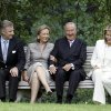 File - In this June 17, 2008 file photo, from left to right, Belgium\'s Crown Prince Philippe, Queen Paola, King Albert II and Belgium\'s Princess Mathilde sit during an official photo session at the Royal Palace in Laeken, Belgium. Albert II's kingdom is increasingly threatened by royal-bashing separatists seeking the breakup of Belgium. Now, a book dipping deep into the privacy of kings and princes is adding insult to injury. With its back against the wall, the royal palace sought to strike back in the week of Oct. 29, 2012, seeking action against the journalist who published the book ''Royal Questions'' which is sometimes as rich on dangerous liaisons as it is on the use of anonymous sources. (AP Photo/Virginia Mayo, File)