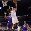 Oklahoma City\'s Russell Westbrook (0) shoots as Lakers\' Lamar Odom (7) defends during the NBA basketball game between the Oklahoma City Thunder and the Los Angeles Lakers, Sunday, Feb. 27, 2011, at the Oklahoma City Arena.Photo by Sarah Phipps, The Oklahoman