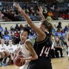 Millwood\'s Mekale Chapple (20) tries to get by Verdigris\' Courtney Risenhoover (14) during the 3A girls quarterfinals game between Millwood High School and Verdigris High School at the State Fair Arena on Thursday, March 7, 2013, in Oklahoma City, Okla. Photo by Chris Landsberger, The Oklahoman