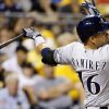 Photo - Milwaukee Brewers' Aramis Ramirez hits a double to drive in two runs during the fifth inning of a baseball game against the Pittsburgh Pirates on Tuesday, Aug. 27, 2013, in Pittsburgh. (AP Photo/Keith Srakocic)