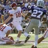 Oklahoma Sooners\' Michael Hunnicutt (18) kicks a 53 yard field goal during the college football game between the University of Oklahoma Sooners (OU) and the Kansas State University Wildcats (KSU) at Bill Snyder Family Stadium on Sunday, Oct. 30, 2011. in Manhattan, Kan. Photo by Chris Landsberger, The Oklahoman ORG XMIT: KOD