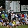 Fans line the No. 4 green during the first round of the U.S. Senior Open golf tournament at Oak Tree National in Edmond, Okla., Thursday, July 10, 2014. Photo by Bryan Terry, The Oklahoman