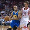 Golden State Warriors\' Jarrett Jack (2) drives around Houston Rockets\' Chandler Parsons (25) during the first quarter of an NBA basketball game, Tuesday, Feb. 5, 2013, in Houston. (AP Photo/Dave Einsel)