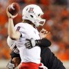 Oklahoma State\'s Jamie Blatnick pressures Arizona\'s Nick Foles in the second quarter of their game Thursday in Stillwater. PHOTO BY NATE BILLINGS, The Oklahoman