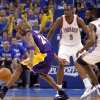 Los Angeles\' Kobe Bryant looses the ball under the pressure of Oklahoma City\'s James Harden during Game 2 in the second round of the NBA playoffs between the Oklahoma City Thunder and the L.A. Lakers at Chesapeake Energy Arena on Wednesday, May 16, 2012, in Oklahoma City, Oklahoma. Photo by Chris Landsberger, The Oklahoman
