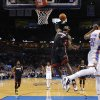 Miami\'s LeBron James (6) goes up for a dunk during an NBA basketball game between the Oklahoma City Thunder and the Miami Heat at Chesapeake Energy Arena in Oklahoma City, Thursday, Feb. 20, 2014. Oklahoma CIty lost 103-81. Photo by Bryan Terry, The Oklahoman
