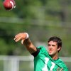 Quarterback Zac Robinson throws a pass during the first Oklahoma State University fall football practice, in Stillwater, Okla., Thursday, July 31, 2008. BY MATT STRASEN, THE OKLAHOMAN