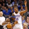 Oklahoma City\'s Kevin Durant (35) defends against Memphis\' Zach Randolph (50) during the NBA basketball game between the Oklahoma City Thunder and the Memphis Grizzlies at the Chesapeake Energy Arena in Oklahoma City, Thursday, Jan. 31, 2013.Photo by Sarah Phipps, The Oklahoman