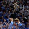 Oklahoma City\'s Kevin Durant holds up the MVP trophy before Game 2 of the Western Conference semifinals in the NBA playoffs between the Oklahoma City Thunder and the Los Angeles Clippers at Chesapeake Energy Arena in Oklahoma City, Wednesday, May 7, 2014. Photo by Bryan Terry, The Oklahoman