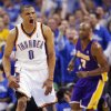 GAME THREE / L.A. LAKERS / REACTION: Oklahoma City\'s Russell Westbrook (0) reacts after dunking the ball in the fourth quarter in front of Lamar Odom (7) of L.A. during the NBA basketball game between the Los Angeles Lakers and the Oklahoma City Thunder in the first round of the NBA playoffs at the Ford Center in Oklahoma City, Thursday, April 22, 2010. Oklahoma City won, 101-96. Photo by Nate Billings, The Oklahoman ORG XMIT: KOD