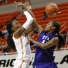 Oklahoma State\'s Toni Young (15) runs into Stephen F. Austin\'s Wykeia Sanders (41) during a women\'s college basketball game between Oklahoma State University and Stephen F. Austin at Gallagher-Iba Arena in Stillwater, Okla., Thursday, Dec. 6, 2012. Photo by Bryan Terry, The Oklahoman
