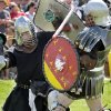 Knights battle in the arena during the Medieval Fair on Saturday, March 31, 2012, in Norman, Okla. Photo by Steve Sisney, The Oklahoman