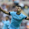 Photo - Manchester City's Sergio Aguero celebrates his goal  during their English Premier League soccer match against Newcastle United at St James' Park, Newcastle, England, Sunday, Aug. 17, 2014. (AP Photo/Scott Heppell)