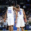 Photo -  OKLAHOMA CITY - DECEMBER 19: Kevin Durant #35 and Russell Westbrook #0 give each other pats on the back seconds before a win against the Toronto Raptors at the Ford Center on December 19, 2008 in Oklahoma City, Oklahoma. NOTE TO USER: User expressly acknowledges and agrees that, by downloading and/or using this Photograph, user is consenting to the terms and conditions of the Getty Images License Agreement. Mandatory Copyright Notice: Copyright 2008 NBAE (Photo by Larry W. Smith/NBAE via Getty Images) *** Local Caption *** Kevin Durant;Russell Westbrook