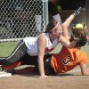 Sterling infielder Alie Payne tries unsuccessfully to tag out Davenport\'s Amanda Peterson at third, Friday, October 11, 2013. Photo by David McDaniel, The Oklahoman