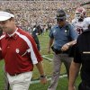 Oklahoma head coach Bob Stoops leaves the field after the college football game between the University of Oklahoma Sooners (OU) and the University of Colorado Buffaloes (CU) at Folsom Field in Boulder, Co., on Saturday, Sept. 28, 2007. Colorado won, 27-24. By NATE BILLINGS, The Oklahoman