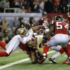 San Francisco 49ers\' Michael Crabtree (15) loses the ball neat the goal line during the second half of the NFL football NFC Championship game against the Atlanta Falcons Sunday, Jan. 20, 2013, in Atlanta. The Falcons recovered the fumble. (AP Photo/Mark Humphrey)