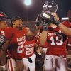Oklahoma\'s Allen Patrick (23) and Joe Jon Finley (19) celebrate with the Bedlam Trophy after defeating Oklahoma State 49-17 in the college football game between the University of Oklahoma Sooners (OU) and the Oklahoma State University Cowboys (OSU) at the Gaylord Family-Memorial Stadium on Saturday, Nov. 24, 2007, in Norman, Okla. Photo By CHRIS LANDSBERGER, The Oklahoman
