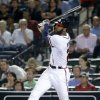 Atlanta Braves\' Jason Heyward hits a double in the fifth inning of a baseball game against the Philadelphia Phillies, Thursday, Sept. 26, 2013, in Atlanta. (AP Photo/David Goldman)