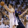 Oklahoma City\'s Nick Collison (4) grabs the ball in front of Greivis Vasquez (21) of Memphis during game five of the Western Conference semifinals between the Memphis Grizzlies and the Oklahoma City Thunder in the NBA basketball playoffs at Oklahoma City Arena in Oklahoma City, Wednesday, May 11, 2011. Photo by Bryan Terry, The Oklahoman