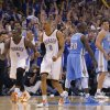 Oklahoma City\'s Russell Westbrook (0) reacts after making the shot to put the Thunder up for good in the 107-103 win over Denver during the first round NBA playoff game between the Oklahoma City Thunder and the Denver Nuggets on Sunday, April 17, 2011, in Oklahoma City, Okla. Photo by Chris Landsberger, The Oklahoman