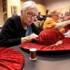Donnia (cq) Barrett of Yukon, stitches fabric on the outside of her hat. She participated in the class with her granddaughter, Dannette Goodner of Thomas. A dozen women came to the Oklahoma History Center on Saturday, Feb. 1, 2014, to learn the art of hat-making from volunteer Barbara who conducted the day-long milliner class at the Oklahoma Historical Society. Photo by Jim Beckel, The Oklahoman