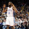 Oklahoma City\'s James Harden (13) reacts after hitting a three-point shot in the first half during the NBA basketball game between the Detroit Pistons and Oklahoma City Thunder at the Chesapeake Energy Arena in Oklahoma City, Monday, Jan. 23, 2012. Photo by Nate Billings, The Oklahoman