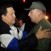 In this photo released by Miraflores Press Office, Venezuela\'s President Hugo Chavez, left, speaks with his Defense Minister Diego Molero upon his arrival to Simon Bolivar airport in Maiquetia, near Caracas. Venezuela, Friday, Dec. 7, 2012. Chavez arrived back home in Caracas after 10 days of medical treatment in Cuba. (AP Photo/Miraflores Press Office, Marcelo Garcia)