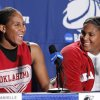 University of Oklahoma players Ashley and Courtney Paris speak to the media before the Sooners elite eight appearance in NCAA women\'s basketball tournament at the Ford Center in Oklahoma City, Okla. on Monday, March 30, 2009. PHOTO BY STEVE SISNEY, THE OKLAHOMAN