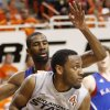 OSU\'s Brian Williams (4) works against KU\'s Justin Wesley (4) in the first half during a men\'s college basketball game between the Oklahoma State University Cowboys and the University of Kansas Jayhawks at Gallagher-Iba Arena in Stillwater, Okla., Monday, Feb. 27, 2012. Photo by Nate Billings, The Oklahoman