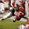 Ran Broyles is brought down by Eric Hagg during the first half of the college football game between the University of Oklahoma Sooners (OU) and the University of Nebraska Huskers (NU) at the Gaylord Family Memorial Stadium, on Saturday, Nov. 1, 2008, in Norman, Okla. BY STEVE SISNEY, THE OKLAHOMAN
