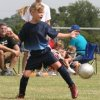 Mackenzie McCoy (8) blocking a kick in summer soccer at Lake Overholser Community Photo By: Janna McCoy Submitted By: Janna, Choctaw