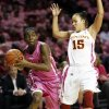 Oklahoma\'s Sharane Campbell (24) looks to pass around Iowa State\'s Nicole