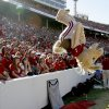 Fans watch Boomer do a back flip during the second half of the Red River Rivalry college football game between the University of Oklahoma Sooners (OU) and the University of Texas Longhorns (UT) at the Cotton Bowl on Saturday, Oct. 2, 2010, in Dallas, Texas. Photo by Bryan Terry, The Oklahoman
