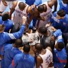 Photo - The Oklahoma City Thunder huddle up before the NBA basketball game between the Oklahoma City Thunder and the Cleveland Cavaliers at Chesapeake Energy Arena in Oklahoma City, Friday, March 9, 2012. Photo by Bryan Terry, The Oklahoman