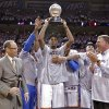 Oklahoma City\'s Kevin Durant holds the Western Conference Championship trophy after the 107-99 win over San Antonio during Game 6 of the Western Conference Finals between the Oklahoma City Thunder and the San Antonio Spurs in the NBA playoffs at the Chesapeake Energy Arena in Oklahoma City, Wednesday, June 6, 2012. Photo by Chris Landsberger, The Oklahoman
