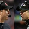 This combo image made of Sunday, Jan. 20, 2013, photos shows San Francisco 49ers head coach Jim Harbaugh, left, in Atlanta, and Baltimore Ravens head coach John Harbaugh in Foxborough, Mass., during their NFL football conference championship games. Get ready for the Brother Bowl_ it\'ll be Harbaugh vs. Harbaugh when Big Bro John\'s Baltimore Ravens (13-6) play Little Bro Jim\'s San Francisco 49ers (13-4-1) in the Super Bowl at New Orleans in two weeks. (AP Photos/Mark Humphrey, Matt Slocum)